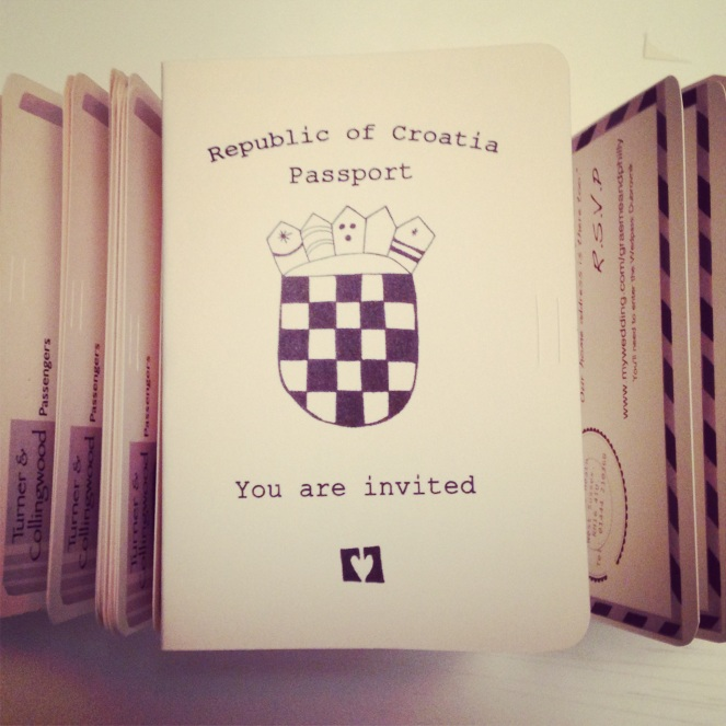 Passport inspired invitation for a wedding in Croatia.